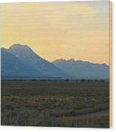 Tetons And Fields Wood Print