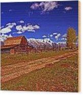 Tetons And Gambrel Barn Perspective Wood Print