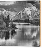 Tetons In Black And White Wood Print