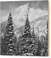 Tetons In Snow Wood Print