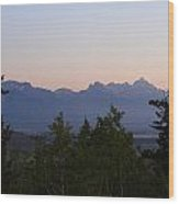 Tetons In The Morning Wood Print