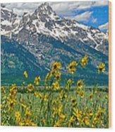 Tetons Peaks And Flowers Right Panel Wood Print