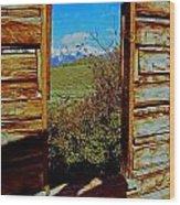 Tetons Through Log House Window Wood Print