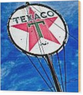Texaco Gasoline Wood Print by Merrick Imagery