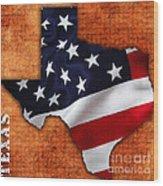 Texas American Flag Map Wood Print