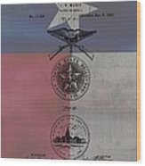 Texas Badge Patent On Texas Flag Wood Print