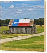 Texas Barn Flag Wood Print