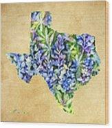 Texas Blues Texas Map Wood Print