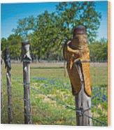 Texas Boot Fence Wood Print