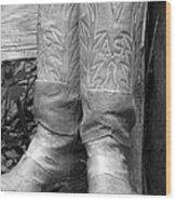 Texas Boots Portrait - Bw 03 Wood Print