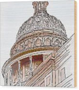 Texas Capitol Sketch Wood Print