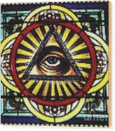 Eye Of Providence Texas Church Window Wood Print