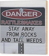 Texas Danger Rattle Snakes Signage Wood Print