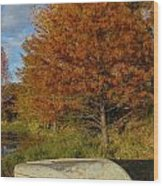 Texas Fall Color With Boat Wood Print