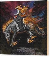 Texas Ghost Rider Wood Print