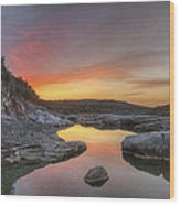 Texas Hill Country Images - Pedernales Falls February Sunrise 3  Wood Print