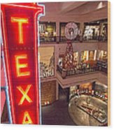 Texas In Lights Wood Print