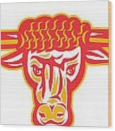 Texas Longhorn Bull Head Retro Woodcut Wood Print