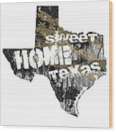 Texas Map Cool Wood Print