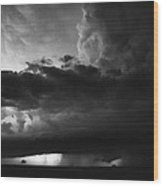 Texas Panhandle Supercell - Black And White Wood Print