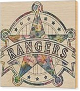 Texas Rangers Poster Art Wood Print