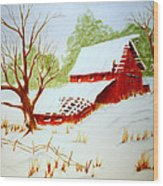 Texas Red Barn Wood Print