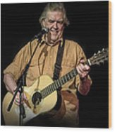 Texas Singer Songwriter Guy Clark In Concert Wood Print