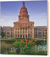 Texas State Capitol Summer Morning - Austin Texas Wood Print