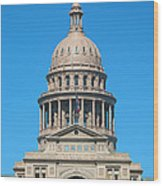 Texas State Capitol With Six Flags Wood Print