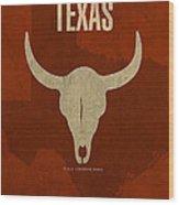 Texas State Facts Minimalist Movie Poster Art  Wood Print