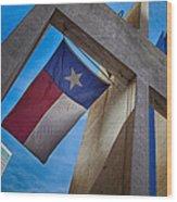Texas State Flag Downtown Dallas Wood Print