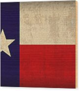 Texas State Flag Lone Star State Art On Worn Canvas Wood Print