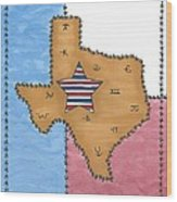 Texas Tried And True Red White And Blue Star Wood Print