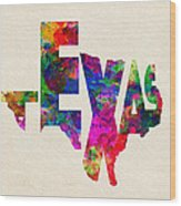 Texas Typographic Watercolor Flag Wood Print