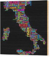 Text Map Of Italy Map Wood Print