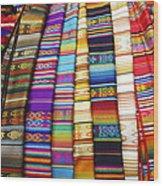 Textile Market Otavalo Ecuador Wood Print