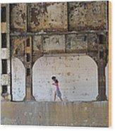 Texting Girl W/ Viaduct Wood Print by Joe Kotas