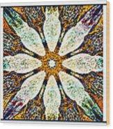 Textured Flower Kaleidoscope Triptych Wood Print