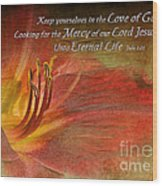 Textured Red Daylily With Verse Wood Print