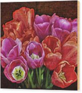 Textured Tulips Wood Print