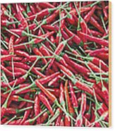 Thai Chili Peppers Background Wood Print