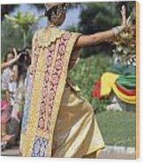 Thai Dancer At Loy Krathong Festival Wood Print