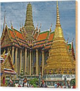 Thai-khmer Pagoda And Golden Chedis At Grand Palace Of Thailand  Wood Print