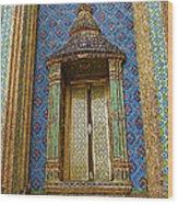 Thai-kmer Pagoda Window At Grand Palace Of Thailand In Bangkok Wood Print