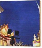 Thai Temple Sunset Wood Print
