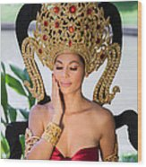 Thai Woman In Traditional Dress Wood Print