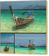 Thailand Longboats Wood Print