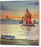 Thames Barge At Maldon Essex Wood Print