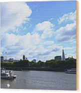 Thames with Blue Sky and Puffy Clouds Wood Print