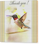 Thank You Card - Bird - Hummingbird Wood Print